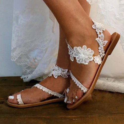 Solid Color Flowers Open Toe Sandals