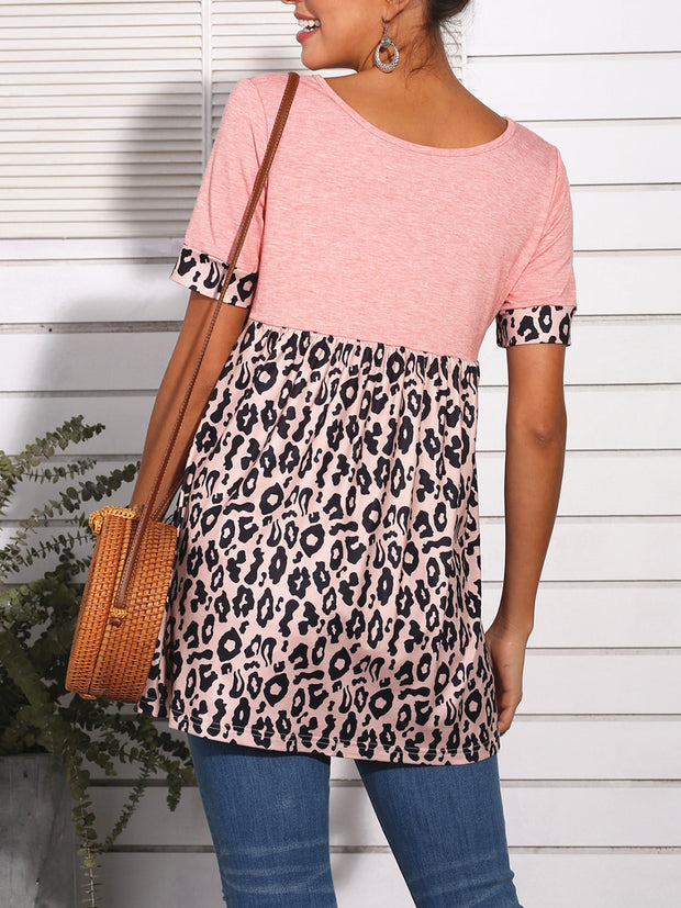 Leopard Splicing Short Sleeves T-shirt