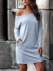 Off-the-shoulder pocket Casual Dresses