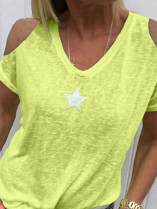Star Print V-neck Strapless T-shirt