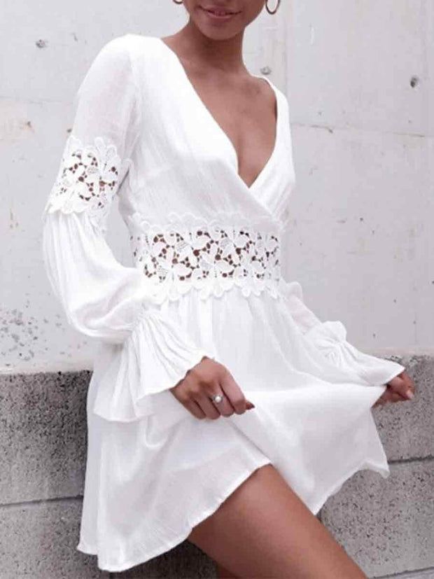 B-Neck Lace Splicing Hollow Out Waist Solid Color Casual Dress