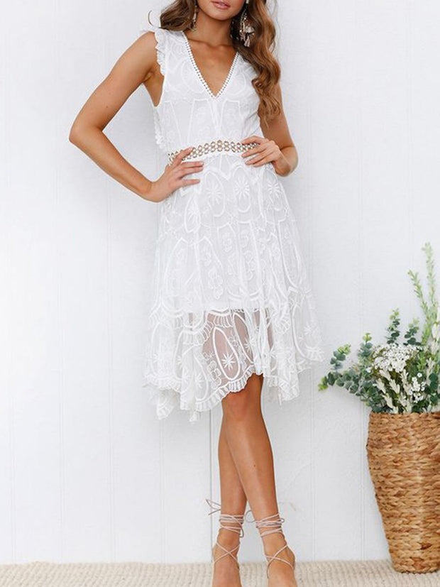 V-Neck Backless Lace Splicing Dress