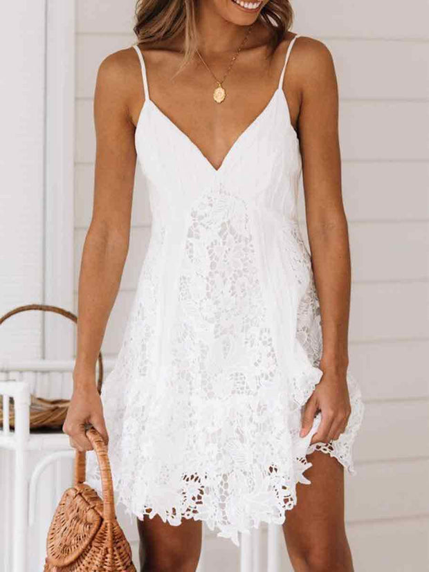 Strap V-Neck Solid Color Lace Dress