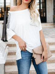 Fashion Sequined Stitching Loose T-shirt