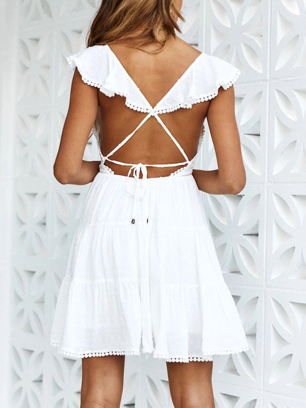 Solid Color V-neck Halter Tassel Mini Dress