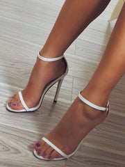 Solid Color T Strap Peep Toe Beach High Heels Casual Sandals