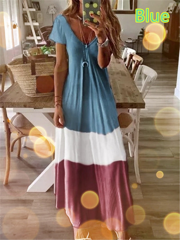Gradient V-neck Bohemian Style Casual Dresses