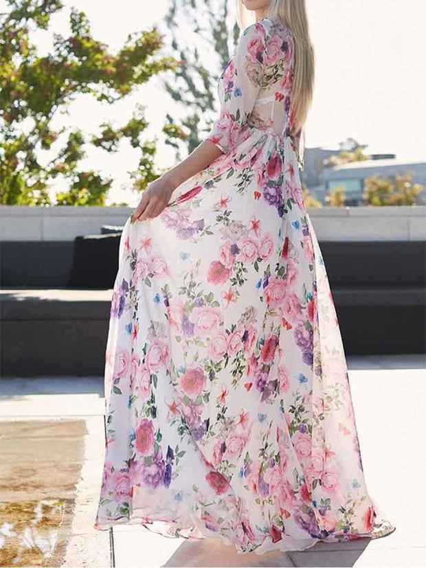 Round Neck Half Sleeves Floral Chiffon Maxi Dress