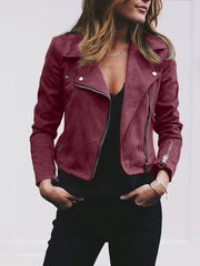 Shawl Collar Zip Leather Short Jacket