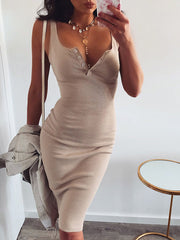Solid Color Bodycon Dress