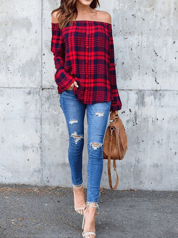 Fashion Plaid Button Blouse