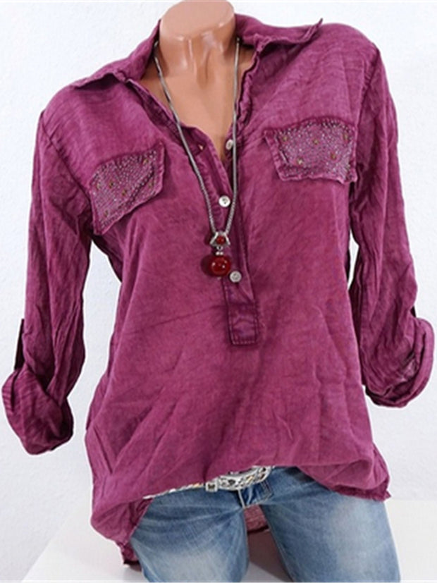 Solid Color Casual Loose Shirt