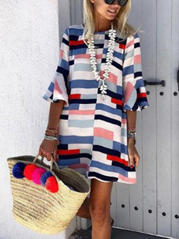 Geometric Colorful Striped Flare Sleeves Shift Dress