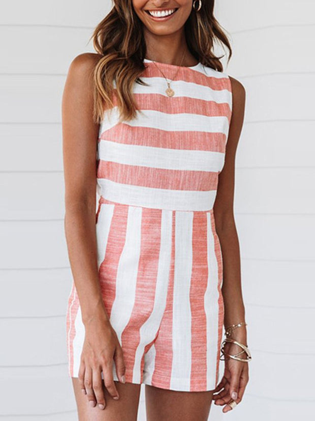 Stripe Sleeveless Rompers