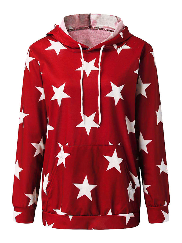 Pentagram Printed Hooded Drawstring Long Sleeve Hoodies