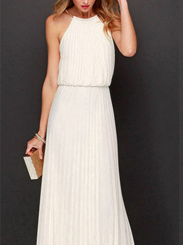 Sleeveless Solid Color Dress