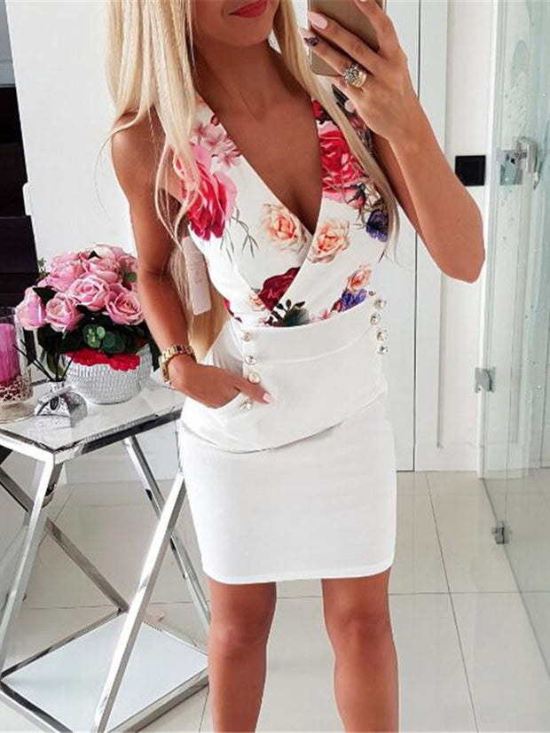 V-Neck Sleeveless Floral Dress