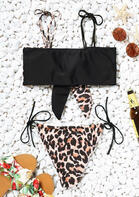 Leopard Printed Splicing Tie Bikini Set