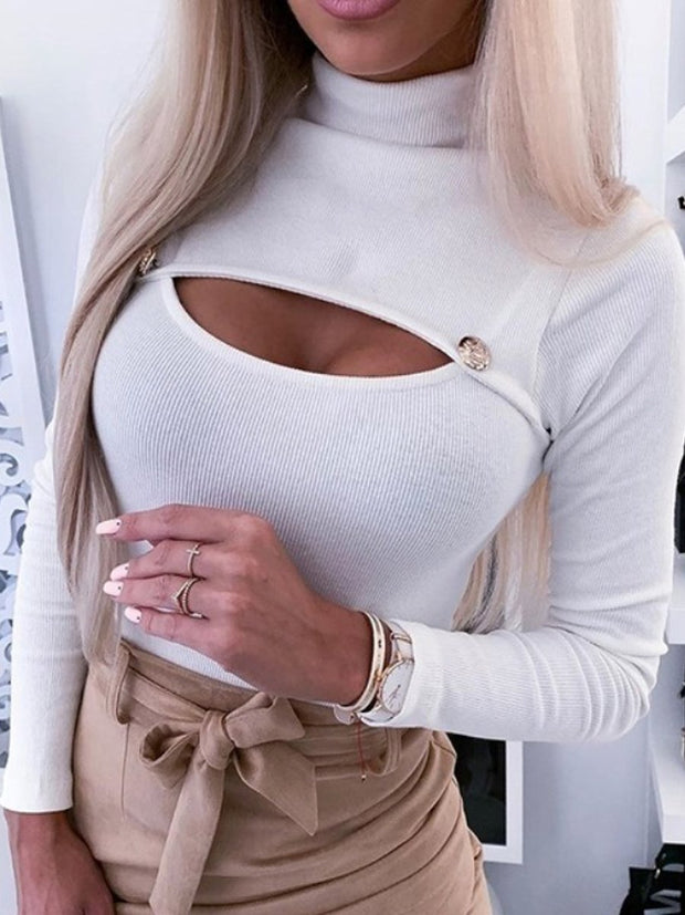 Sexy button-down turtleneck T-shirt