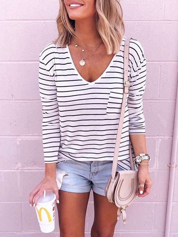 Striped V-Neck T-Shirt