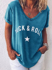 ROCK&ROLL Printed V Neck Casual T-shirt