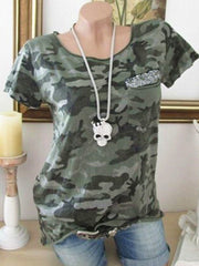 Camouflage Pocket Sequin Short Sleeve T-shirt