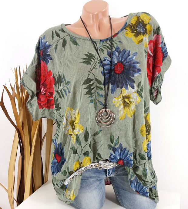 Short sleeve T-shirt with floral print