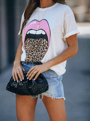 Leopard Tongue Lips Pattern T-shirt