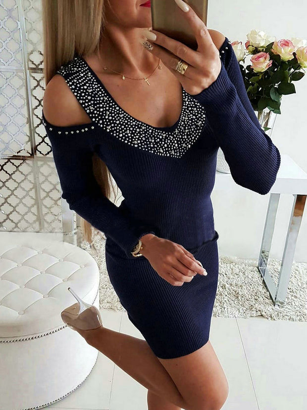 V-Neck Hollow Out Bodycon Dress