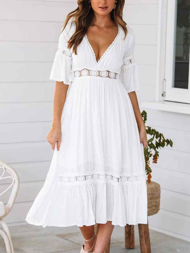 V-Neck Lace Splicing Solid Color Hollow Out Waist Half Sleeves Maxi Dress