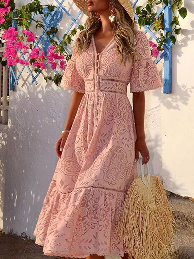 V-neck Short Sleeve Hollow Single Breasted Lace Dress