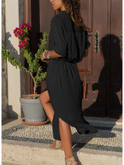 Long Sleeves Solid Color Dress