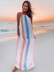 Spaghetti Strap Chiffon Ombre Color Block Maxi Dress