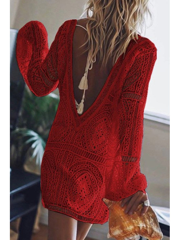 Hollow Long Sleeve V-neck Loose Lace Dress