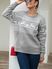 Christmas Round Neck Long Sleeve Pullover Fawn Knit Sweater