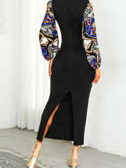 Long Sleeves Printed Bodycon Dress