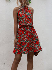 Halter Lace-up Floral Dresses