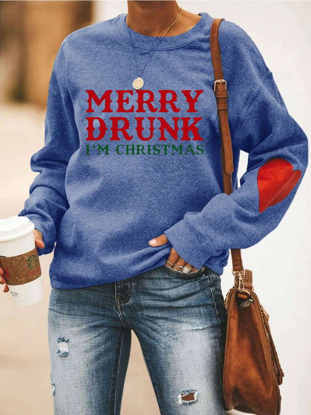 MERRY DRUNK I'M CHRISTMAS Heart Sweatshirt