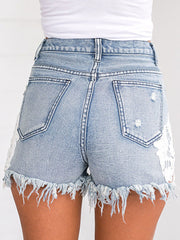 Lace Splicing Washed Denim Shorts
