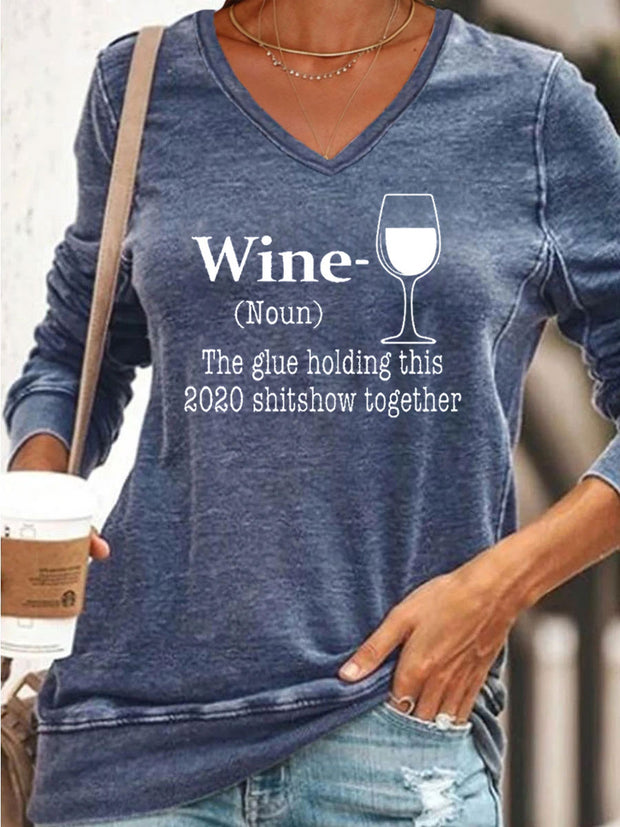 WINE V-neck Sweatshirt