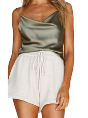 Strap Solid Color Satin Tank Top