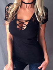 Deep V-Neck Lace Up Hollow Out Plain T-Shirt