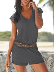 V-Neck Solid Color Casual Romper without belt