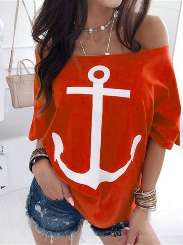 Casual Style Off Shoulder Printed T-shirt