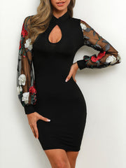 Long Sleeves Lace Splicing Bodycon Dress