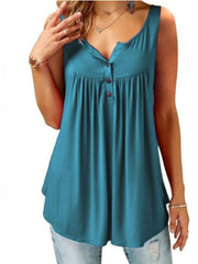 Solid Color Ruffle Button Tank Top