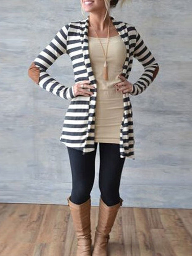 Slim Long Sleeves Striped Arm Patched Cardigan