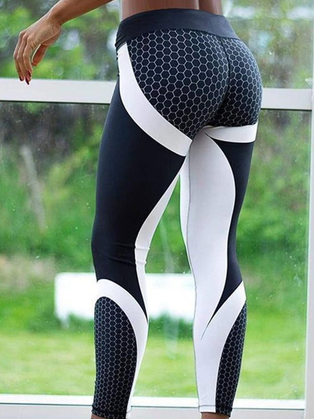 Geometric honeycomb printed high-waist  Yoga leggings