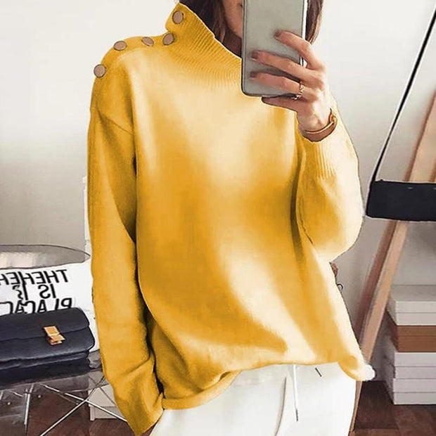 New Autumn Winter Solid Color Warm Sweater