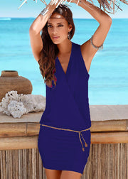 Deep V-neck casual beach dress